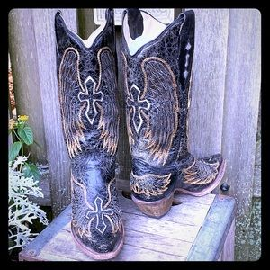 SALE💥Corral Wing Cross Black Inlay Cowboy Boots